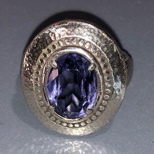 "Brighton ""Grateful"" Large Purple Stone Ring~Sz 8"